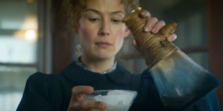 Photo of Review: Rosamund Pike is riveting as Marie Curie in uneven biopic Radioactive